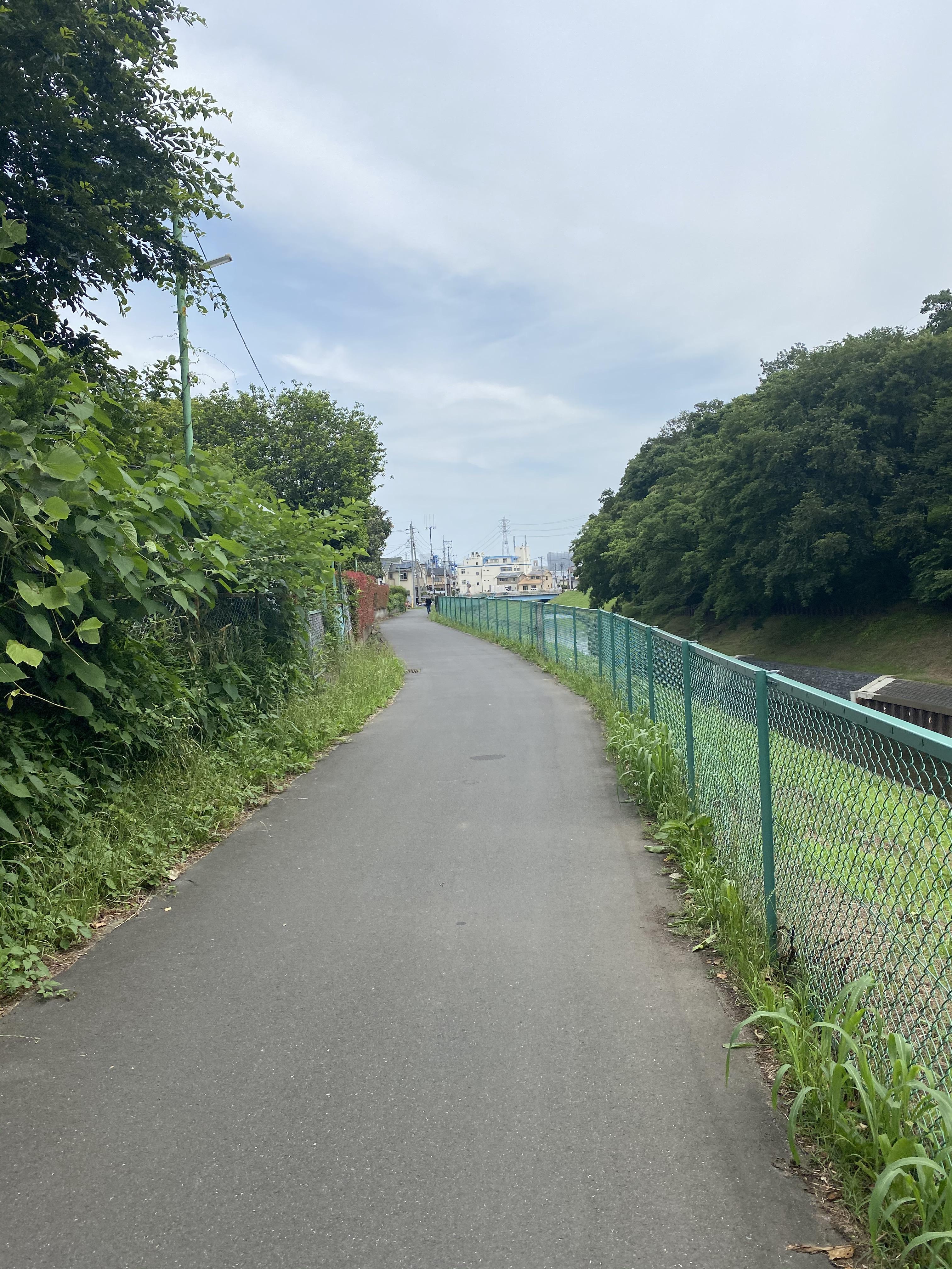 下流に向かって目黒川左岸を歩く