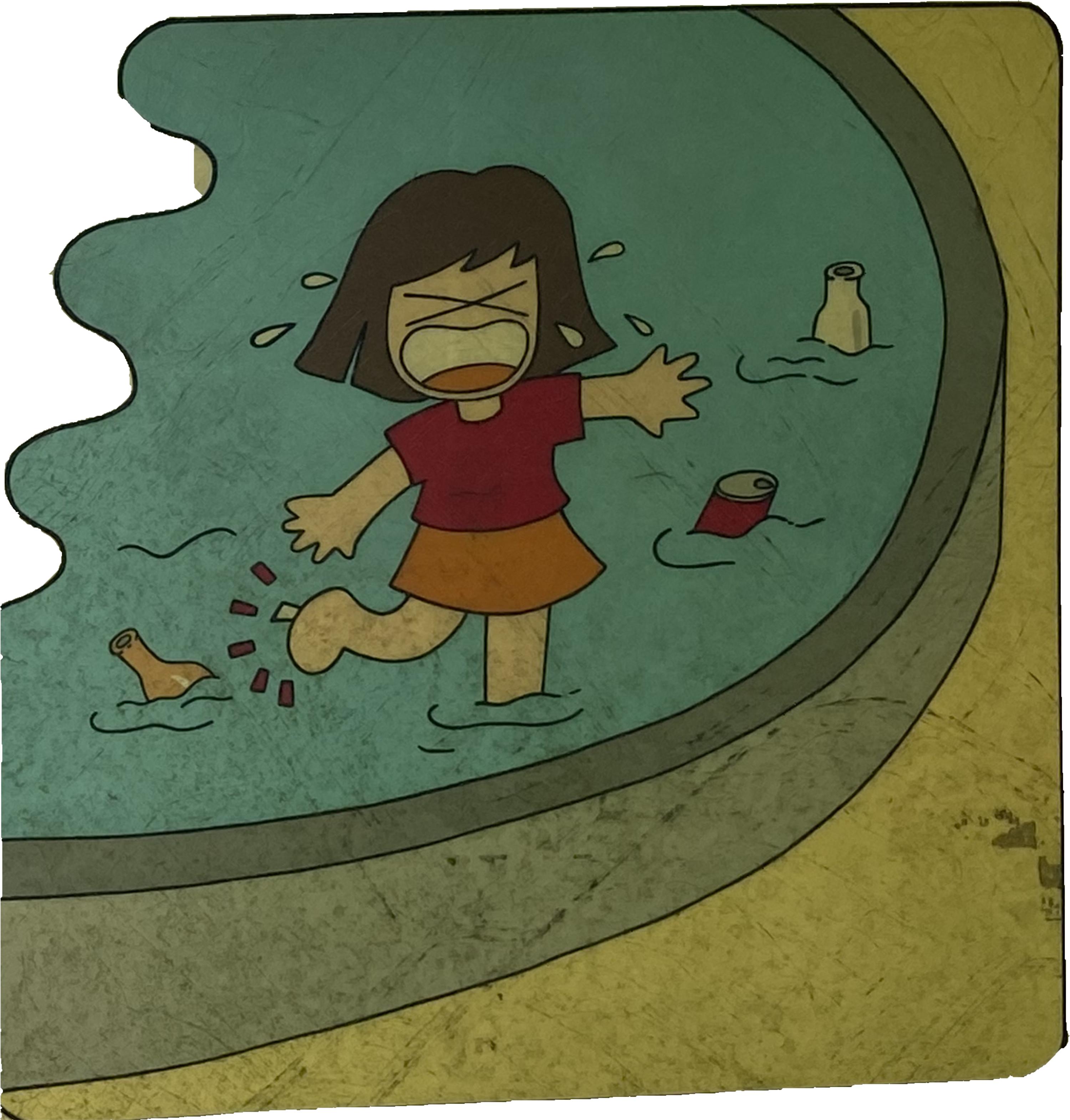 子供達が池や流れで遊びます。.